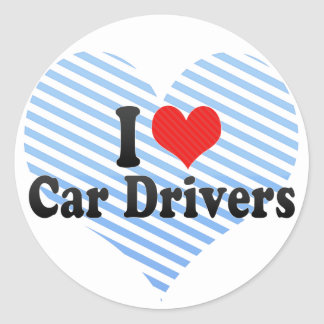 I Love Car Drivers Round Stickers