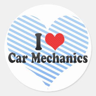 I Love Car Mechanics Round Sticker