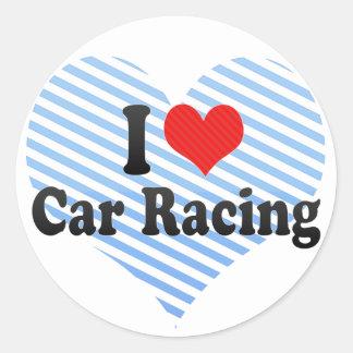 I Love Car Racing Round Sticker