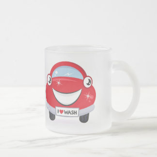 I Love Car Wash Happy Face Glass Mug