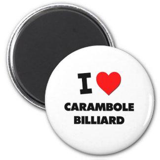 I Love Carambole Billiard 6 Cm Round Magnet