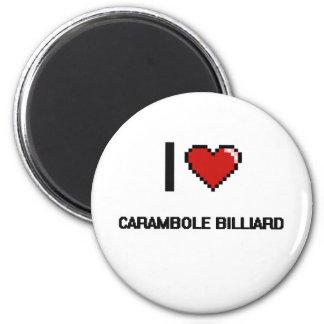 I Love Carambole Billiard Digital Retro Design 6 Cm Round Magnet