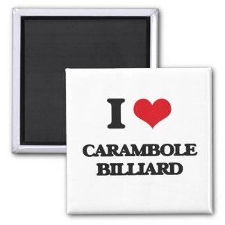 I Love Carambole Billiard Square Magnet