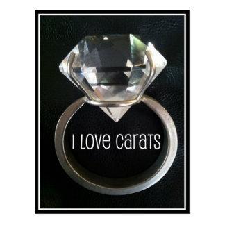 I LOVE CARATS DIAMOND RING PRINT POSTCARD