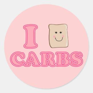 I love Carbs Round Sticker