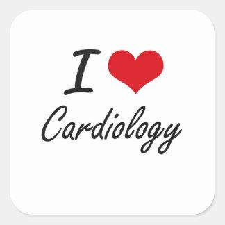 I love Cardiology Artistic Design Square Sticker