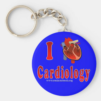 I Love Cardiology (blue) Basic Round Button Key Ring