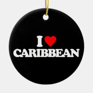 I LOVE CARIBBEAN CHRISTMAS TREE ORNAMENT