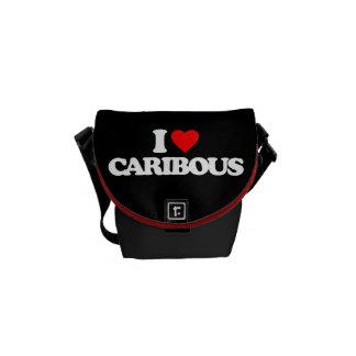 I LOVE CARIBOUS MESSENGER BAGS