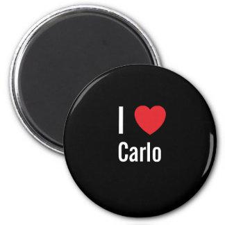 I love Carlo 6 Cm Round Magnet