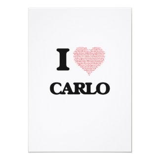 I Love Carlo (Heart Made from Love words) 13 Cm X 18 Cm Invitation Card