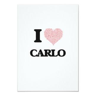 I Love Carlo (Heart Made from Love words) 9 Cm X 13 Cm Invitation Card