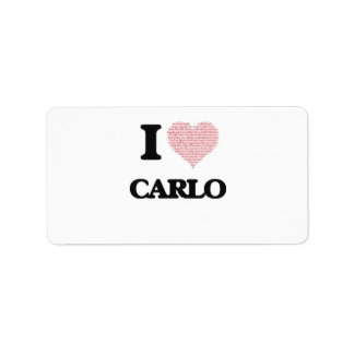 I Love Carlo (Heart Made from Love words) Address Label