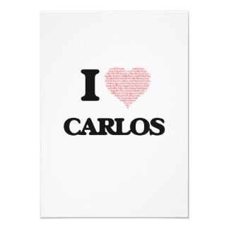 I Love Carlos (Heart Made from Love words) 13 Cm X 18 Cm Invitation Card