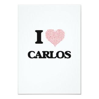 I Love Carlos (Heart Made from Love words) 9 Cm X 13 Cm Invitation Card