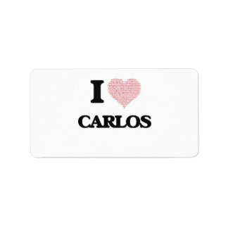 I Love Carlos (Heart Made from Love words) Address Label