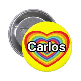 I love Carlos: rainbow heart 6 Cm Round Badge