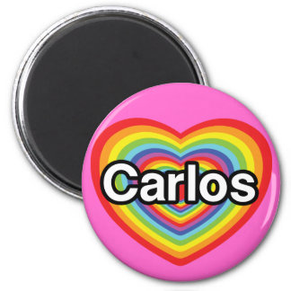 I love Carlos: rainbow heart 6 Cm Round Magnet