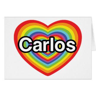 I love Carlos: rainbow heart Greeting Card