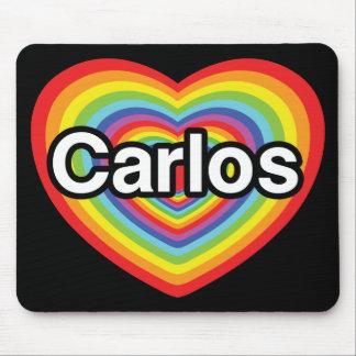 I love Carlos: rainbow heart Mouse Pad