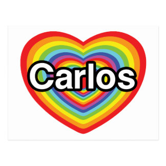I love Carlos: rainbow heart Postcard