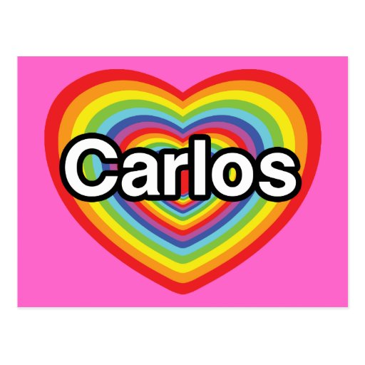 I love Carlos: rainbow heart Postcards