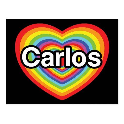 I love Carlos: rainbow heart Post Card