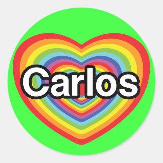 I love Carlos: rainbow heart Round Sticker