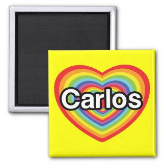 I love Carlos: rainbow heart Square Magnet