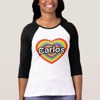 I love Carlos: rainbow heart T Shirt