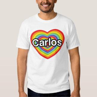 I love Carlos: rainbow heart T Shirts