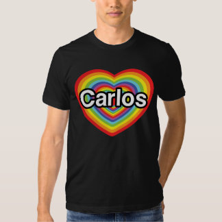 I love Carlos: rainbow heart Tees
