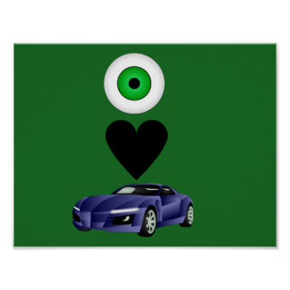 I love cars boy's  poster