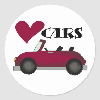 I Love Cars Tshirts and Gifts Round Sticker