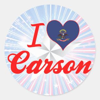 I Love Carson, North Dakota Round Sticker