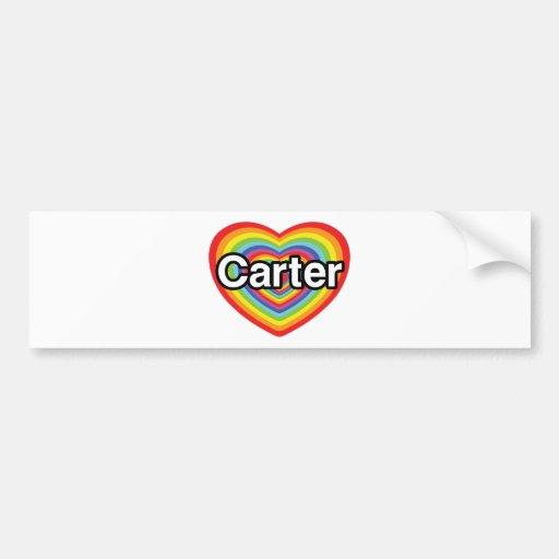 I love Carter: rainbow heart Bumper Sticker