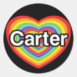 I love Carter: rainbow heart Round Sticker