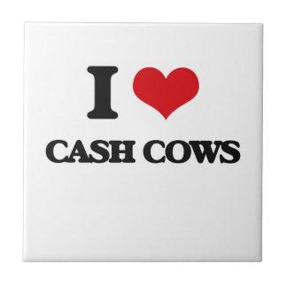 I love Cash Cows Small Square Tile