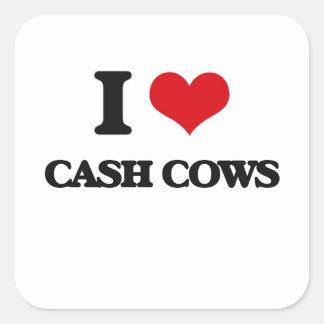 I love Cash Cows Square Sticker