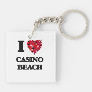 I love Casino Beach Florida Double-Sided Square Acrylic Key Ring