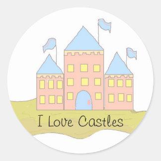 I Love Castles Round Sticker