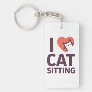 I Love Cat Sitting Double-Sided Rectangular Acrylic Key Ring