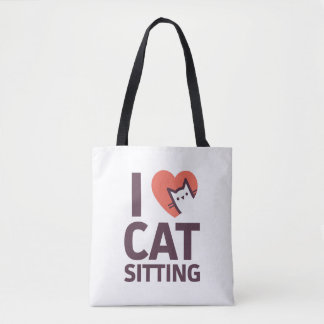I Love Cat Sitting Tote Bag