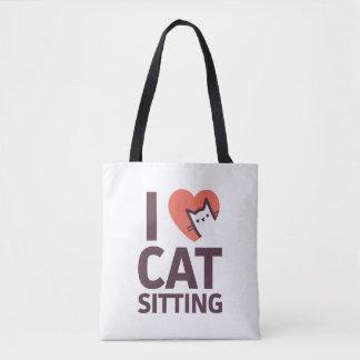 I Love Cat Sitting Tote Bag