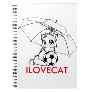 I LOVE CAT SPIRAL NOTE BOOKS