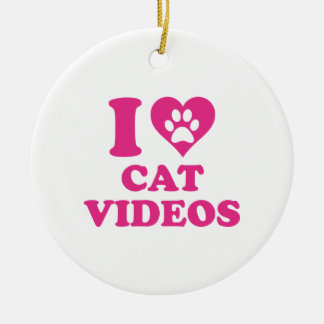 I Love Cat Videos Round Ceramic Decoration