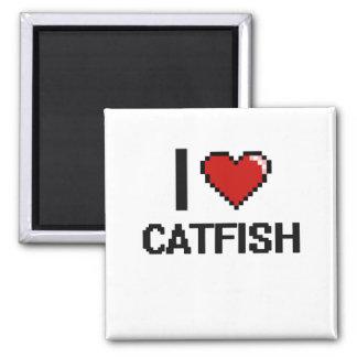 I love Catfish Digital Design Square Magnet