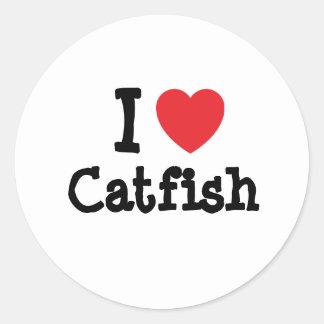 I love Catfish heart T-Shirt Round Stickers