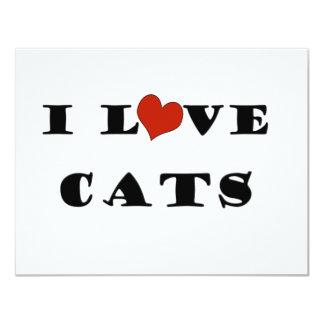 I Love Cats 11 Cm X 14 Cm Invitation Card
