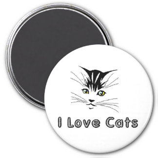 i love cats 5 i love cats 5 kitten with yellow eye 7.5 cm round magnet